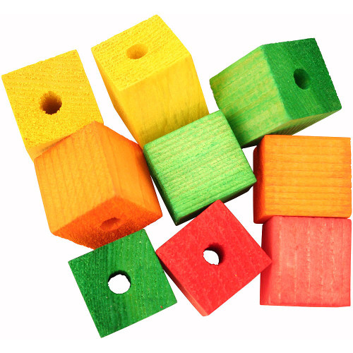 Colourful Wooden Cubes Parrot Toy Parts - Large - Pack of 9