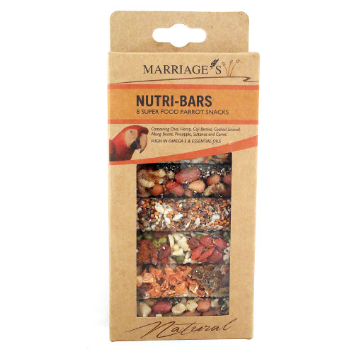Marriage's Nutri-Bars Super Food Parrot Treats - Pack of 8