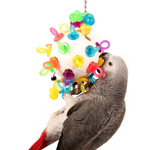 Super Binkies Hanging Wiffle Ball Parrot Toy - Large