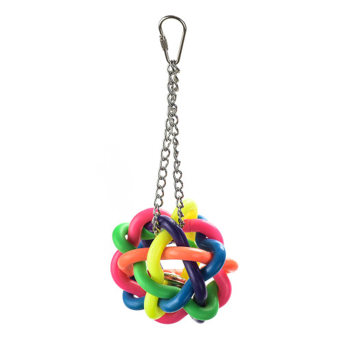 Hanging Rainbow Ball Foraging Parrot Toy with bell - Large