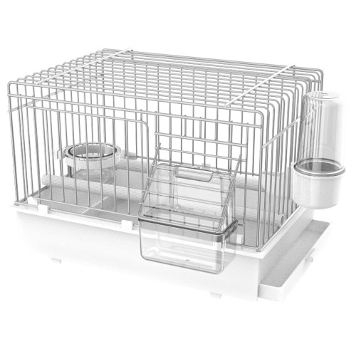 Pet Ting Luxury Transport Cage for Small Parrots & Birds in white