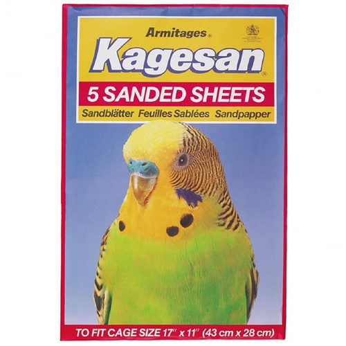 Kagesan 5 Sand Sheets for Parrot & Bird Cages 43cm x 27cm