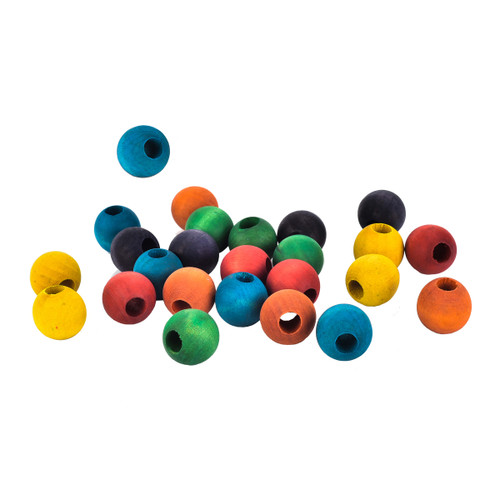 Parrot Toy Making Parts Colourful Wood Beads - Pack of 24