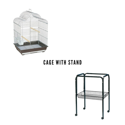Parrot Essentials - Vitosha Solid Top Parrot Cage - Chrome with Stand