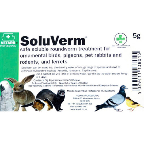 SoluVerm Water Soluble Bird Worming Treatment - 5g