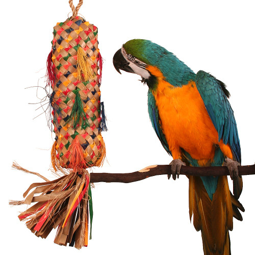 Palm Leaf Coloured Spiked Pinata Natural Parrot Toy - XLarge