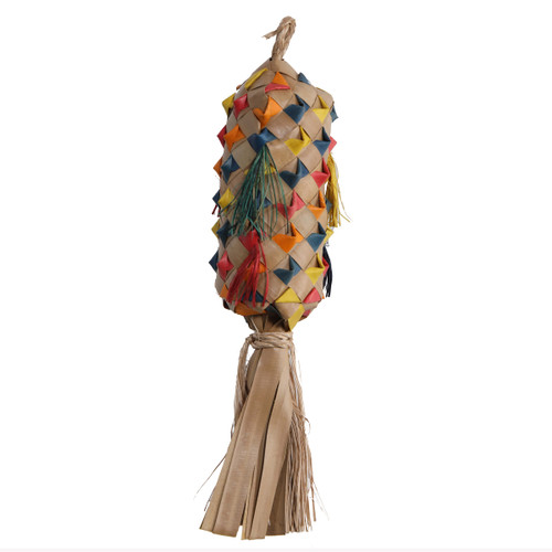 Palm Leaf Coloured Spiked Pinata Natural Parrot Toy - Small