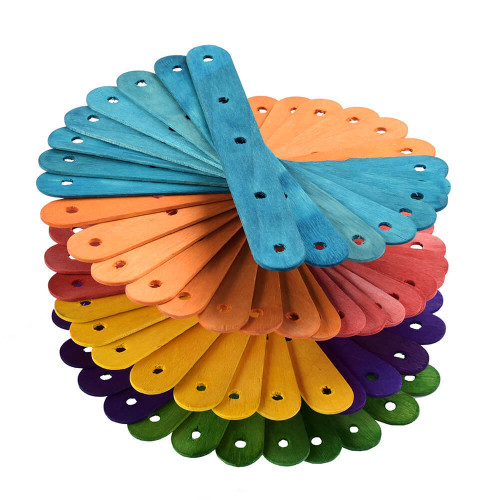 Coloured Wood Ice Lolly Sticks - Large Parrot Toy Parts - 50 Pack Parrot Essentials