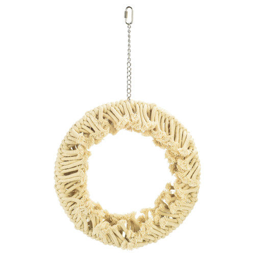 Perch and Swing Fluffy Cotton Ring Parrot Toy - Giant