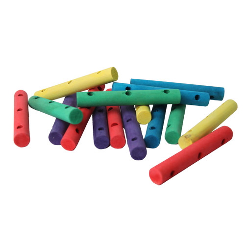 Colourful Wood Drilled Dowels - Parrot Toy Parts - 16 Pack
