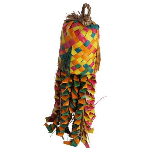 Palm Leaf Octopus Pinata - Preening Natural Parrot Toy - Large