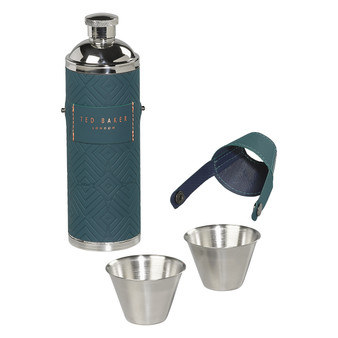 Ted Baker Teal Hip Flask with Shot Cups (TED969)