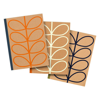 Orla Kiely Set of 3 Large Kraft Notebooks - Linear Stem (OK089)