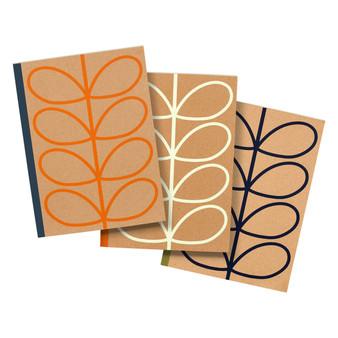 Orla Kiely Set of 3 Large Kraft Notebooks - Linear Stem (OK089)