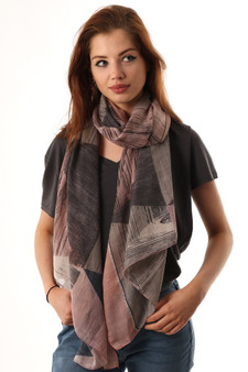 Abstract Sketched Print Scarf - Pink & Grey (2657PI)