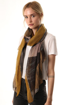 Abstract Sketched Print Scarf - Mustard, Brown & Green (2657MU)