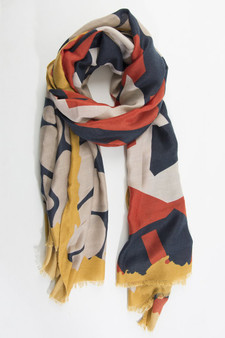 Abstract Organic Pattern Scarf - Orange & Navy (2650MU)