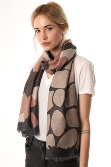 Abstract Organic Pattern Scarf - Dark Grey (2650DG)