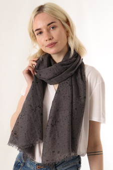 Black Metallic Speckled Scarf - Dark Grey (2557DG6)