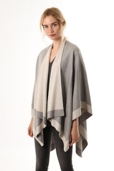 Reversible Two Tone Poncho Wrap - Light Grey (2407LG)