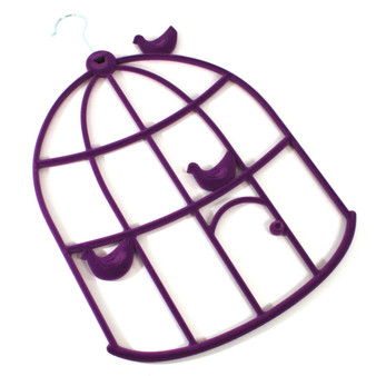 Purple Flocked Birdcage Hanger (106-534)