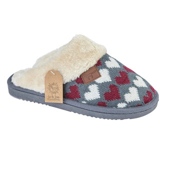Heart Fleece Knit Mule Slippers (Cherish)