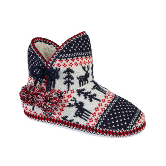Navy Fairisle Bootee Slippers with Pom Poms