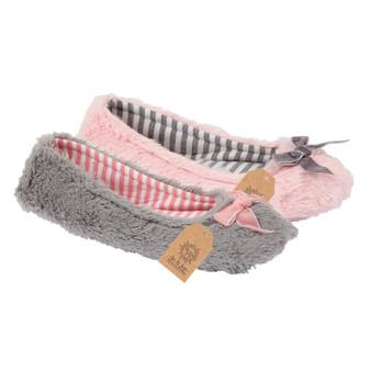 Velour Bow Snuggle Ballerina Slippers