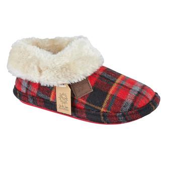 Grey Tartan Faux Fur Slipper Boots