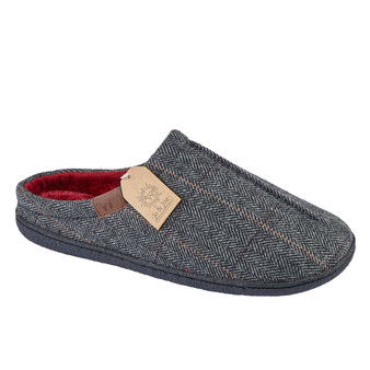 Grey Herringbow Mule Slipper