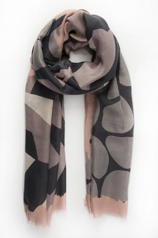 Abstract Organic Pattern Scarf - Pink Grey (2650PI)
