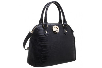 Structured Croc Print Tote Bag - Black