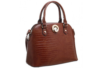 Structured Croc Print Tote Bag - Tan Brown