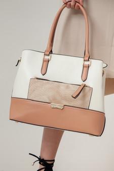 PU Leather Tote Bag with Croc Print Pocket - Beige