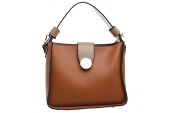 Premium PU Small Two Tone Tote Bag - Tan