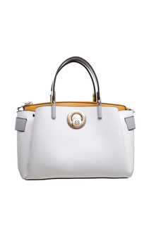 Premium PU Twist Lock Tote Bag - White
