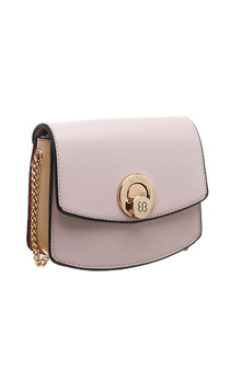 Two Tone PU CrossBody Bag with Twist Lock - Pink