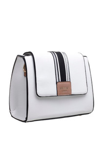 Centre Stripe Panel Crossbody Bag - White