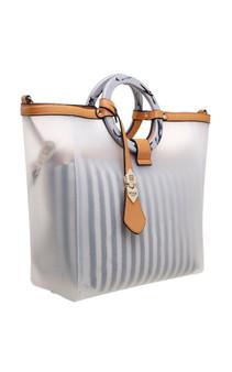 Circle Handle 2in1 Bag in Bag - Tan & Navy