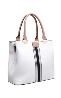 Centre Stripe Panel Tote Bag - White