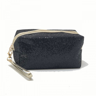 Black Glitter Makeup Bag