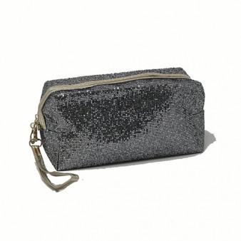 Pewter Grey Glitter Makeup Bag