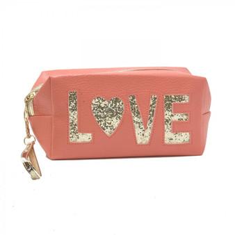 Coral Love Makeup Bag