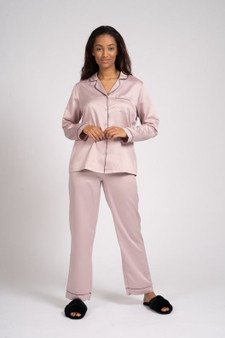 Mink Satin Shirt & Long Pant PJ Set