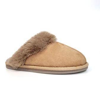 Camel Faux Suede Mule style Fur Lined Slipper