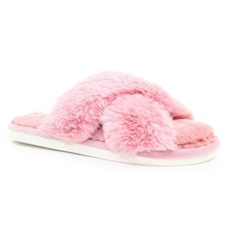 X-Over Fluffy Faux Fur Slipper