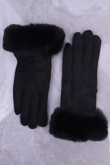 Black Faux Suede Glove with Faux Fur Cuff