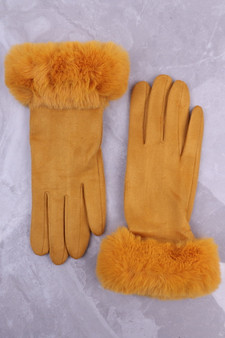 Mustard Faux Suede Glove with Faux Fur Cuff