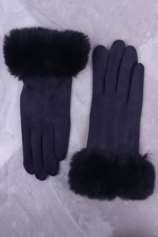 Navy Faux Suede Glove with Faux Fur Cuff