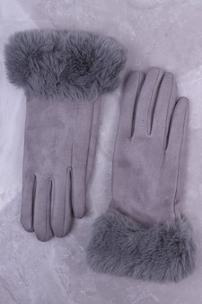 Grey Faux Suede Glove with Faux Fur Cuff